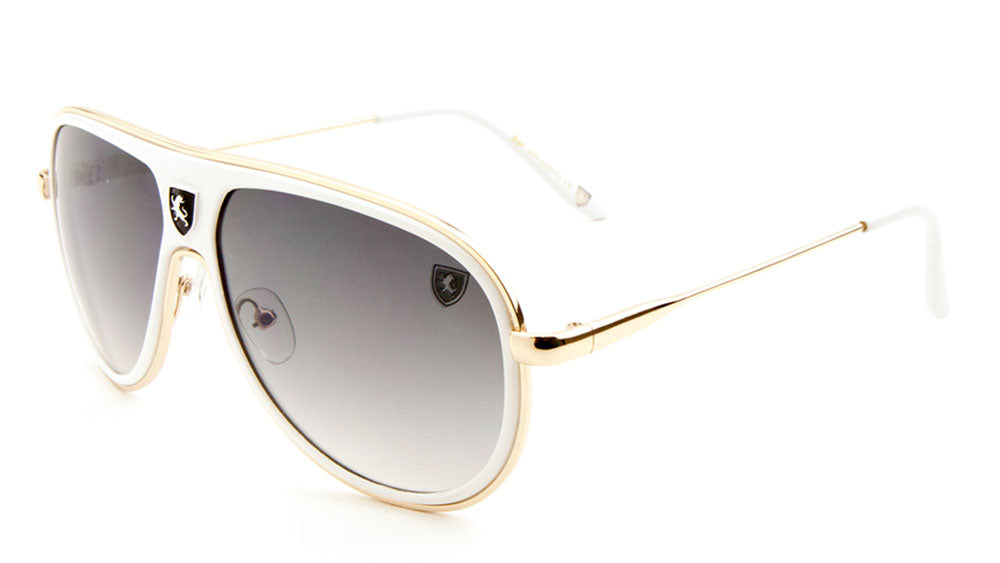KHAN Double Logo Fashion Aviators Sunglasses Wholesale