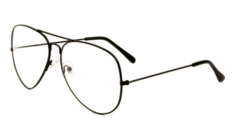 L6258-CLR - Large Clear Lens Aviators Glasses