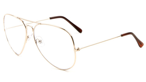 L6258-GOLD-CLR - Large Gold Frame Clear Lens Aviators Glasses