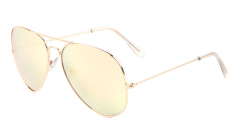 L6258-GOLD-PINK - Large Gold Frame Rose Gold Lens Aviators Sunglasses