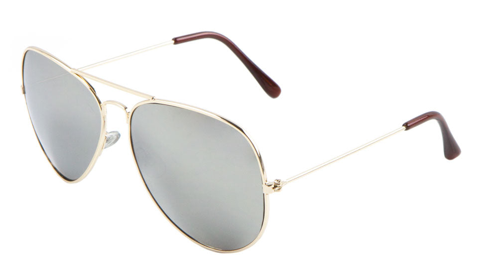 Large Mirrored Lens Aviators Sunglasses Wholesale