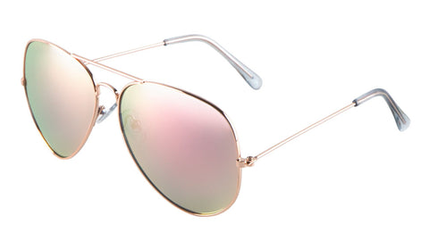 L6258-PINK-RV - Rose Gold Color Mirror Aviators Wholesale Bulk Sunglasses