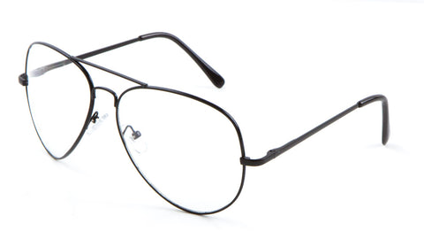 L6259-CLR-SP - Clear Lens Spring Hinge Aviators Wholesale Bulk Glasses