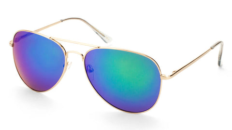 Large Gold Frame Color Mirror Lens Aviators Sunglasses