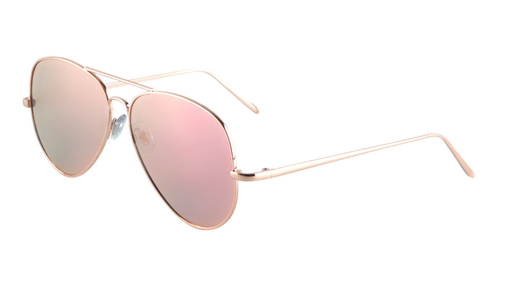 Large Flat Color Mirror Lens Aviators Sunglasses Wholesale