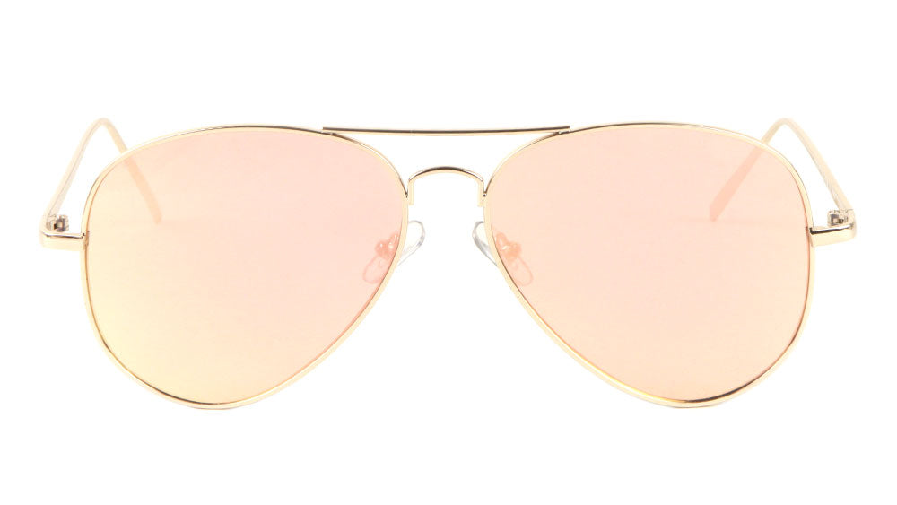 L6322-FT-GOLD-PINK - Gold Frame Rose Gold Flat Lens Bulk Aviators