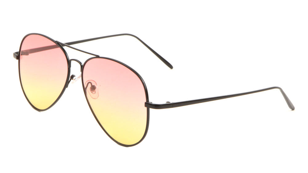L6322-FT-OC - Oceanic Color Flat Lens Aviators Wholesale Bulk Sunglasses