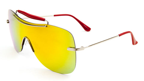 Top Bar Solid One Piece Color Mirror Lens Bulk Sunglasses