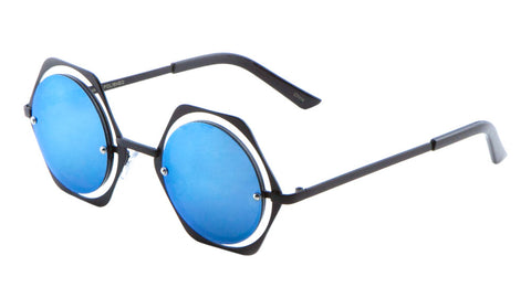 M10138-CM - Round Hexagon Accent Color Mirror Wholesale Bulk Sunglasses