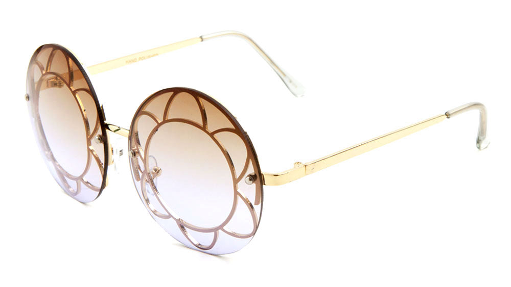 Rimless Round Oceanic Color Wholesale Sunglasses