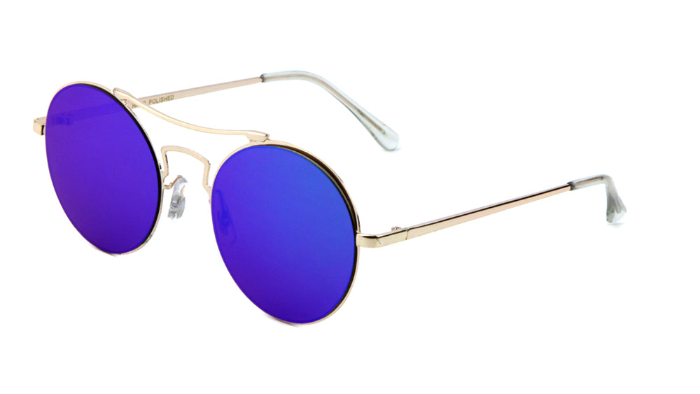 M10140-FT-CM - Rimless Round Flat Color Mirror Wholesale Bulk Sunglasses