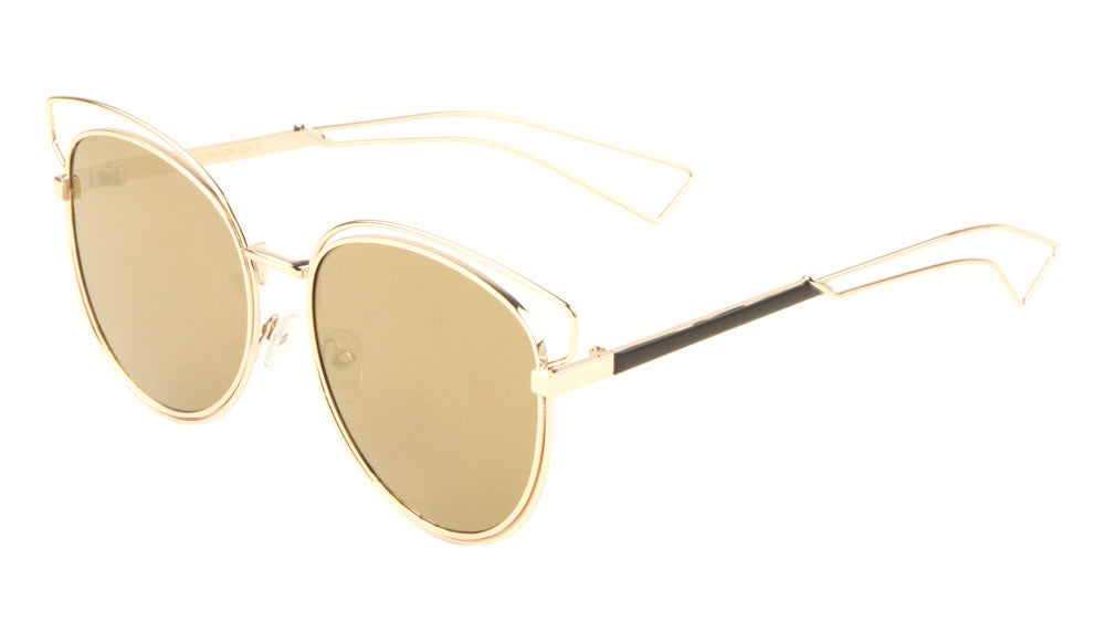 Wire Brow Cat Eye Color Mirror Wholesale Sunglasses