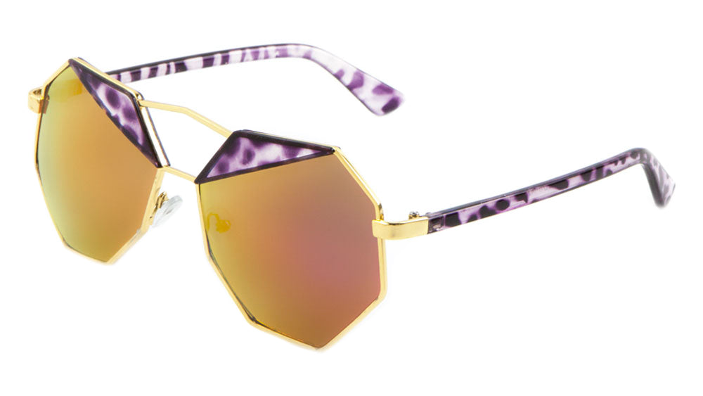 Octagon Color Mirror Fashion Wholesale Sunglasses