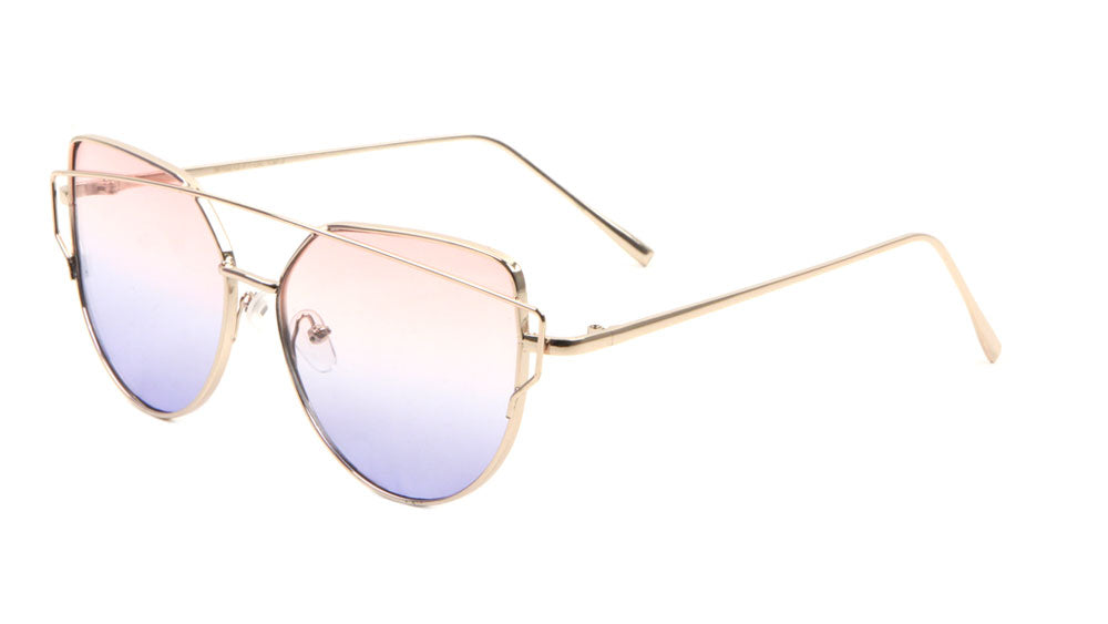 Double Bar Oceanic Color Flat Lens Cat Eye Sunglasses