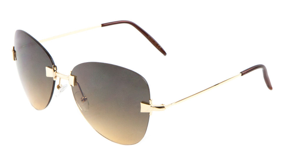 Rimless Butterfly Metal Nose Oceanic Color Lens Wholesale Sunglasses