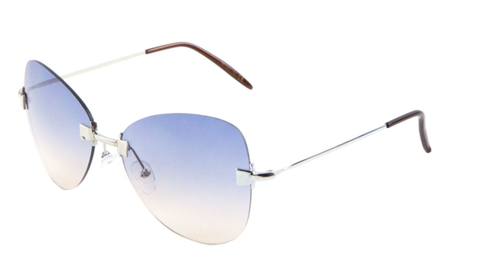 Rimless Butterfly Oceanic Color Lens Wholesale Sunglasses