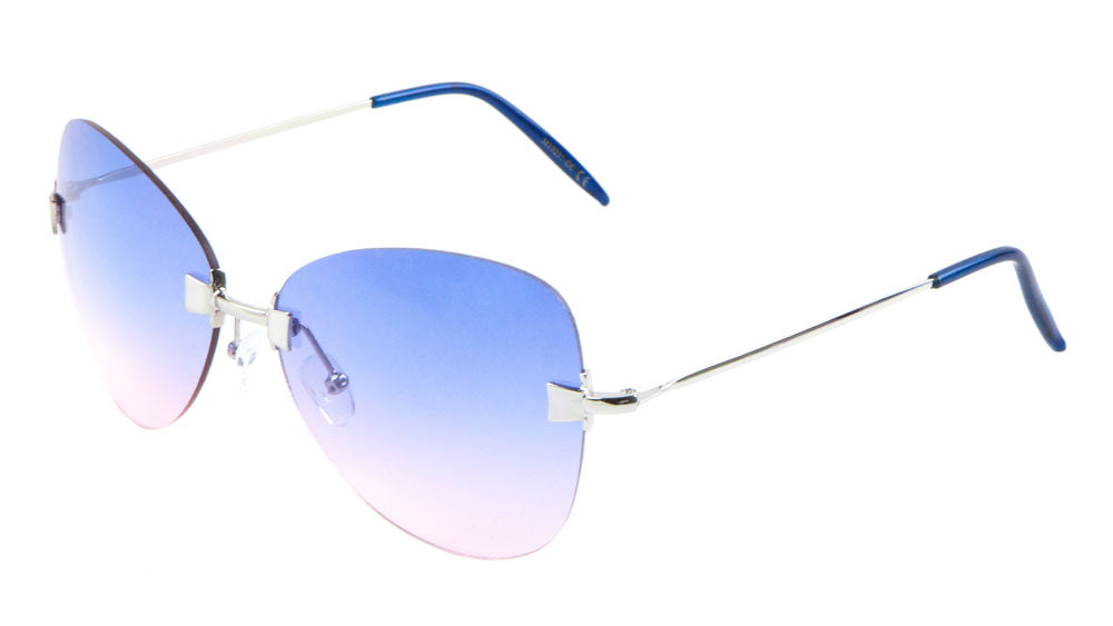 M10231-OC - Rimless Butterfly Oceanic Color Lens Wholesale Sunglasses