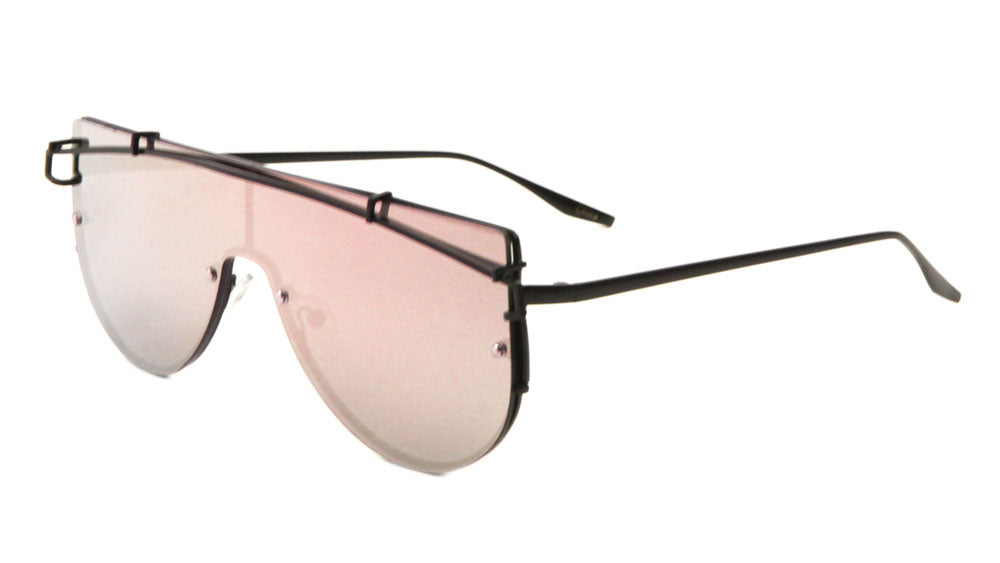 Rimless Flat Top Solid One Piece Rose Gold Lens Sunglasses