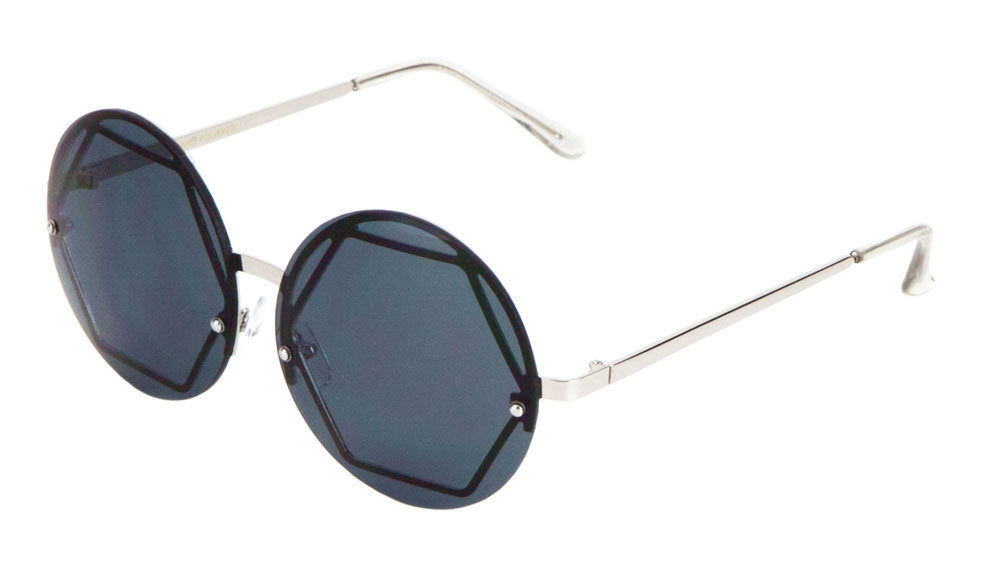 Rimless Round Hexagon Fashion Wholesale Sunglasses