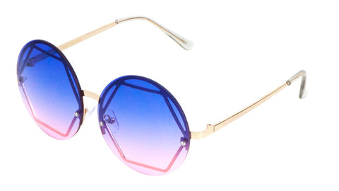 M10269 - Rimless Round Hexagon Wholesale Bulk Sunglasses