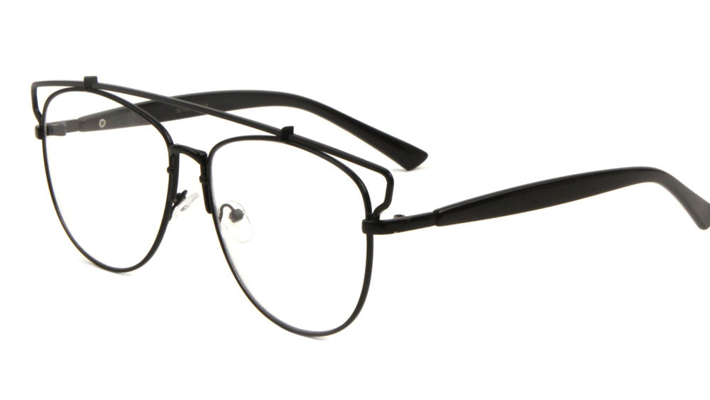 M10277-CLR - Top Bar Retro Clear Lens Wholesale Bulk Glasses