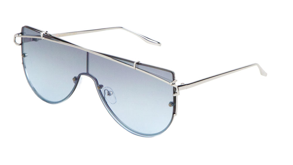 Curved Metal Brow Bar Solid One Piece Flat Oceanic Color Lens Bulk Sunglasses