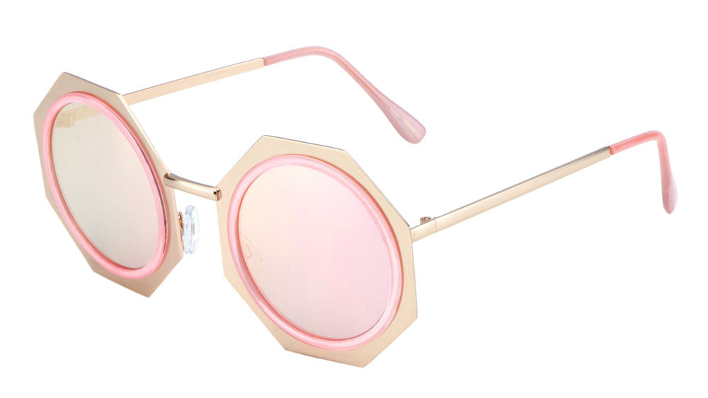 Round Octagon Flat Color Mirror Bulk Sunglasses