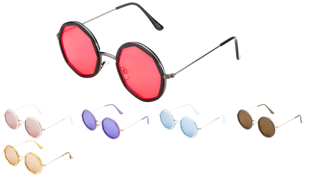 Round Octagon Flat Color Lens Wholesale Bulk Sunglasses