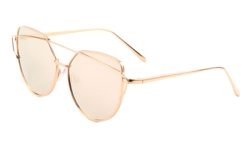 Flat Pink Rose Gold Crossbar Cat Eye Sunglasses Wholesale