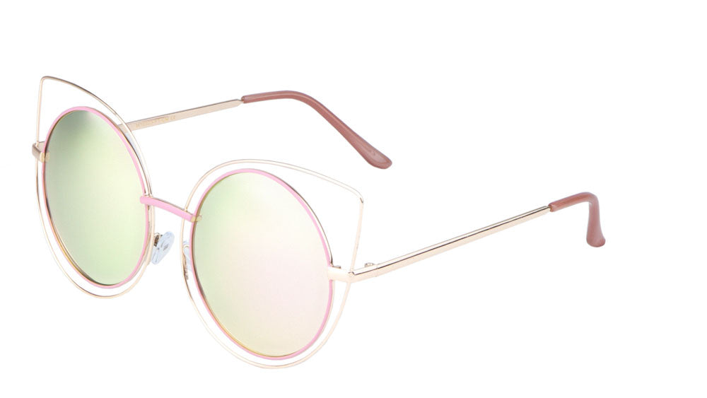 Round Cat Eye Flat Color Mirror Wholesale Sunglasses