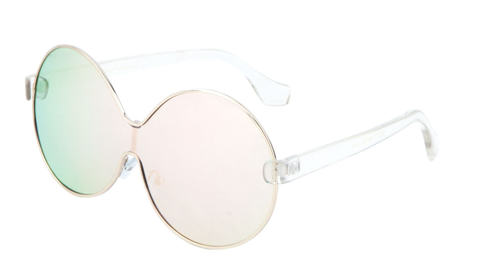 Solid One Piece Round Flat Color Mirror Bulk Sunglasses