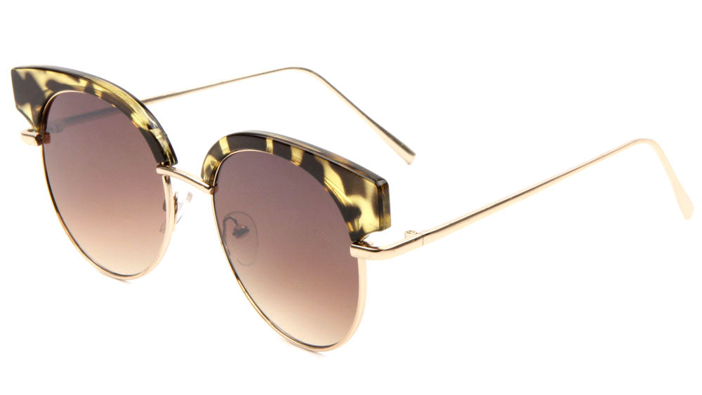 Retro Brow Flat Color Mirror Wholesale Sunglasses