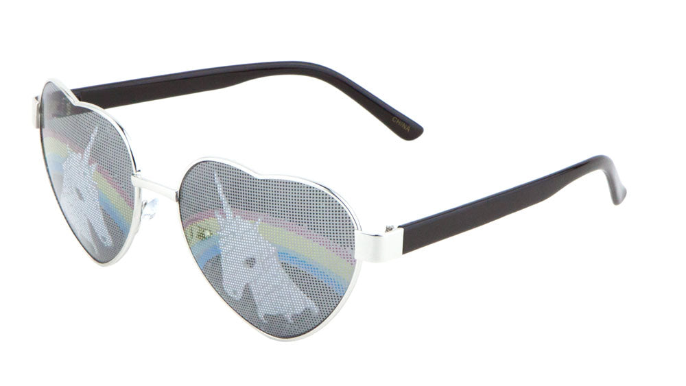 M10347-HEART - Unicorn Rainbow Heart Wholesale Bulk Sunglasses