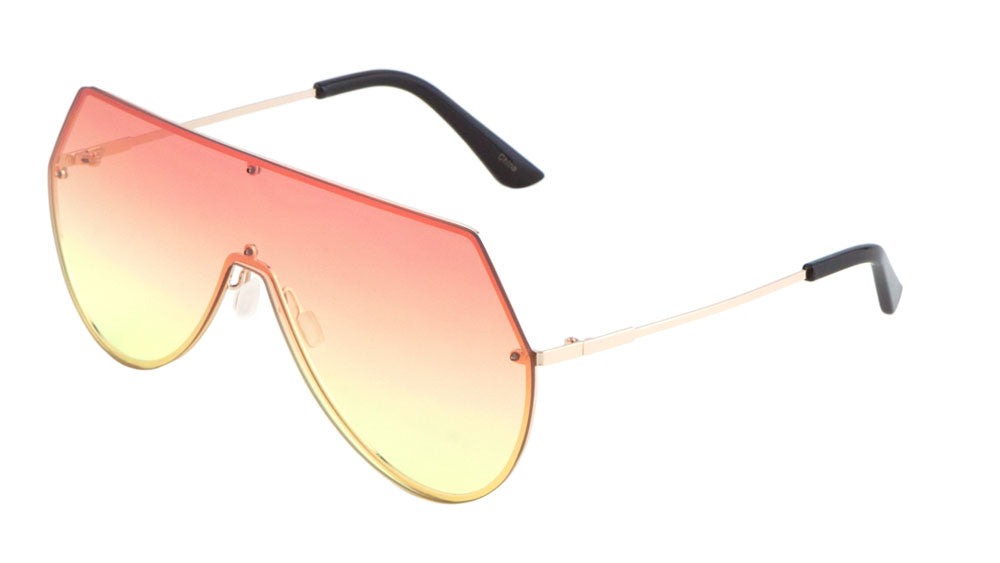 Tapered Top Rimless Solid One Piece Oceanic Color Lens Bulk Sunglasses