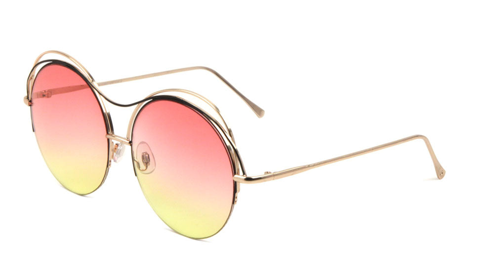 Round Oceanic Color Lens Fancy Curved Brow Bar Wholesale Bulk Sunglasses