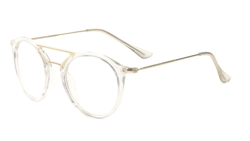 Retro Style Thin Brow Bar Clear Lens Aviators Wholesale Bulk Glasses