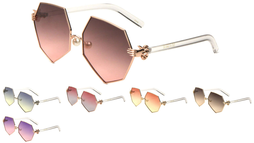 Angled Butterfly Oceanic Color Lens Wholesale Sunglasses