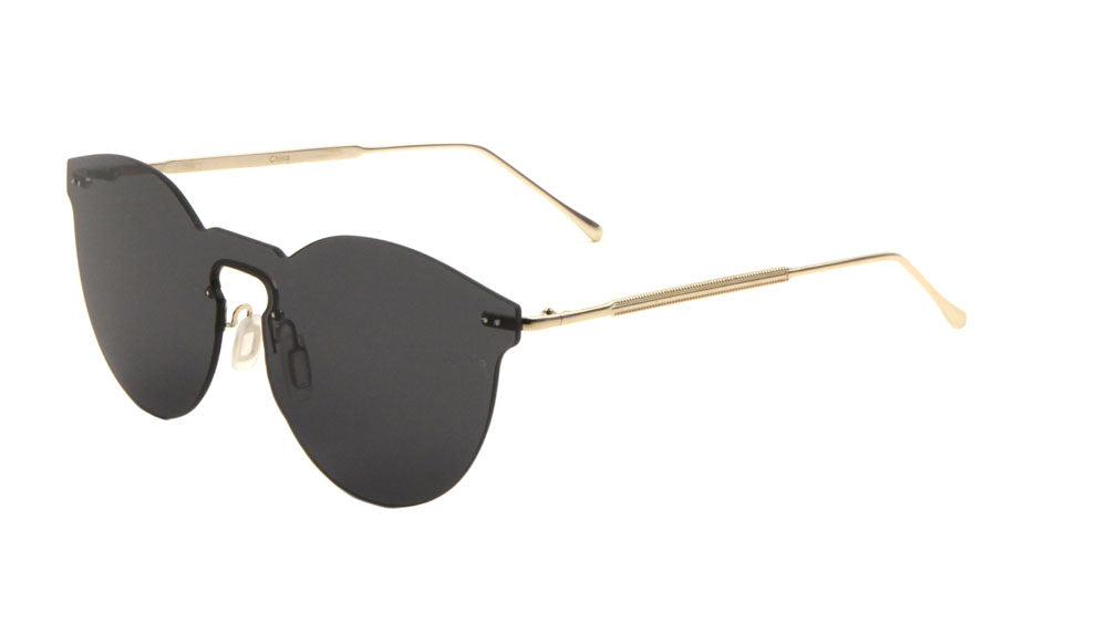 Rimless Solid One Piece Retro Color Mirror Bulk Sunglasses