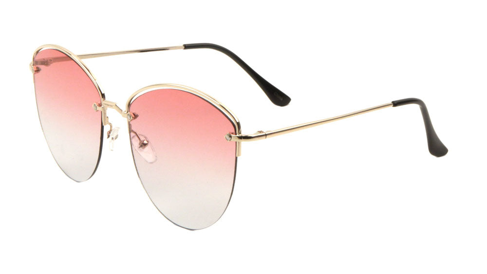 Rimless Oceanic Color Cat Eye Metal Top Accent Wholesale Bulk Sunglasses