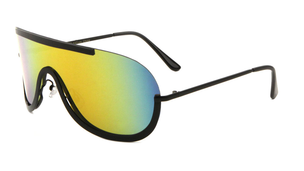 M10403-CM - Solid One Piece Color Mirror Lens Wholesale Bulk Sunglasses
