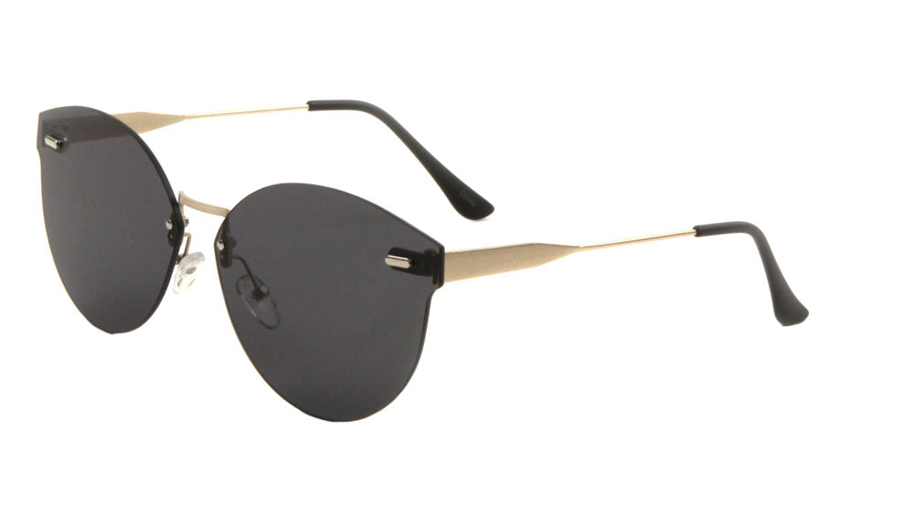 Rimless Retro Style Flat Color Mirror Bulk Sunglasses