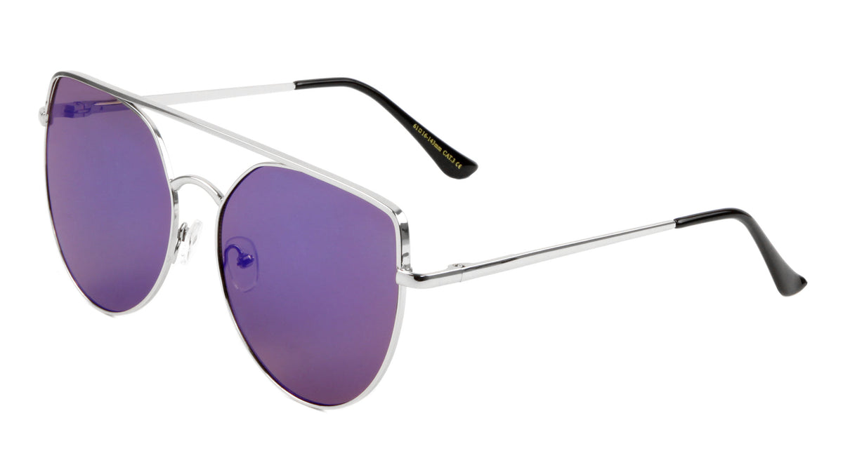 Flat Top Spring Hinge Mirrored Cat Eye Sunglasses