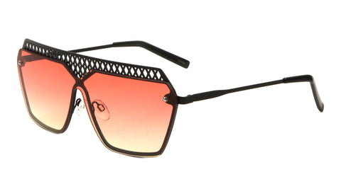 M10414-OC - Mesh Rimless Angled Solid One Piece Oceanic Color Sunglasses
