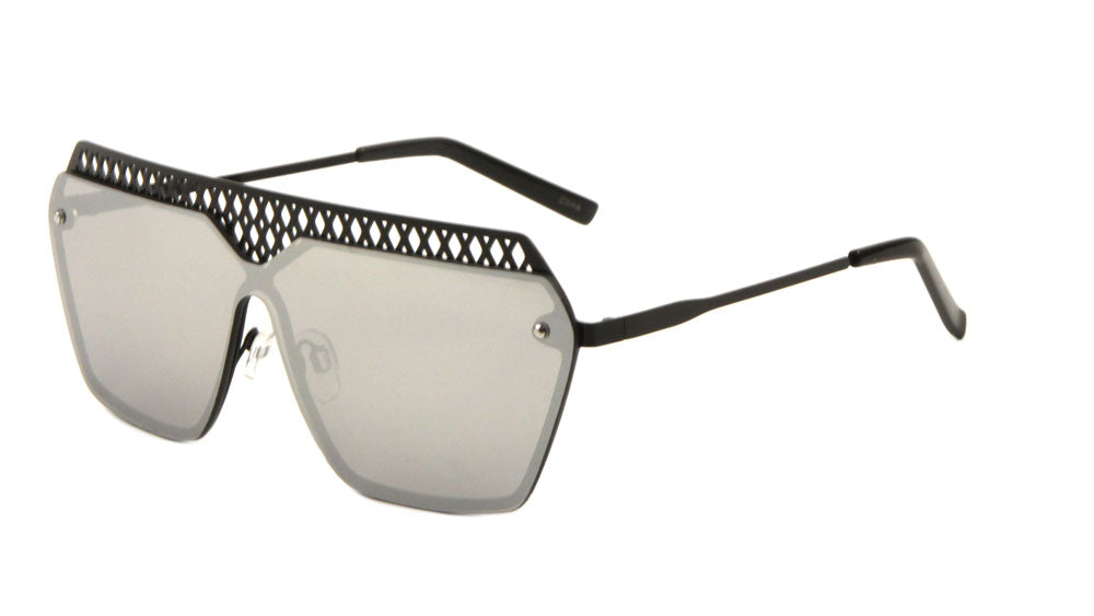 Mesh Rimless Angled Solid One Piece Color Mirror Sunglasses