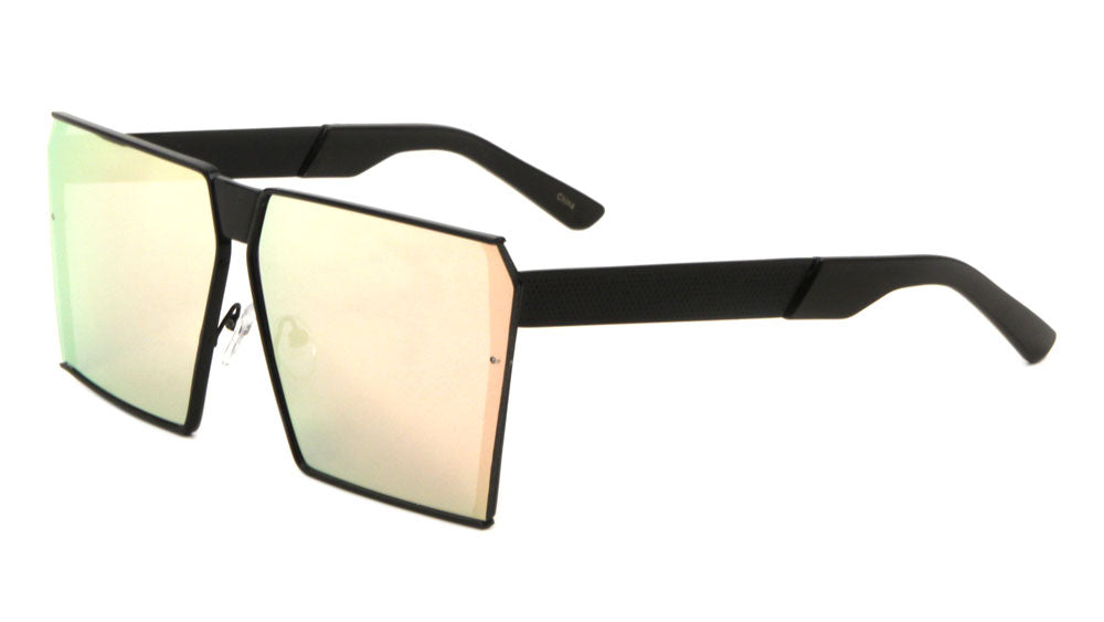 Squared Flat Color Mirror Wholesale Bulk Sunglasses