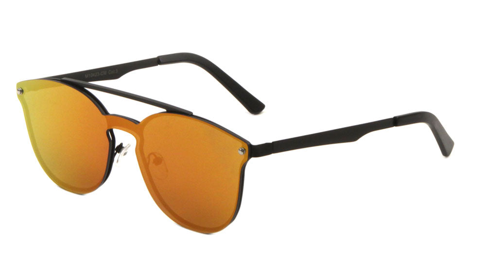 Rimless Retro Aviators Solid One Piece Color Mirror Sunglasses