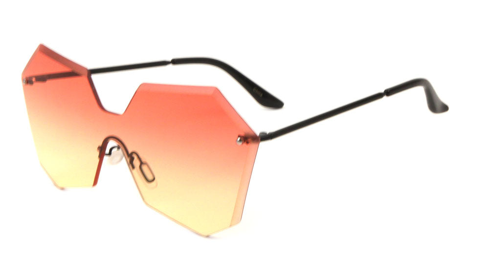 Rimless Angled Butterfly Solid One Piece Oceanic Color Gradient Sunglasses