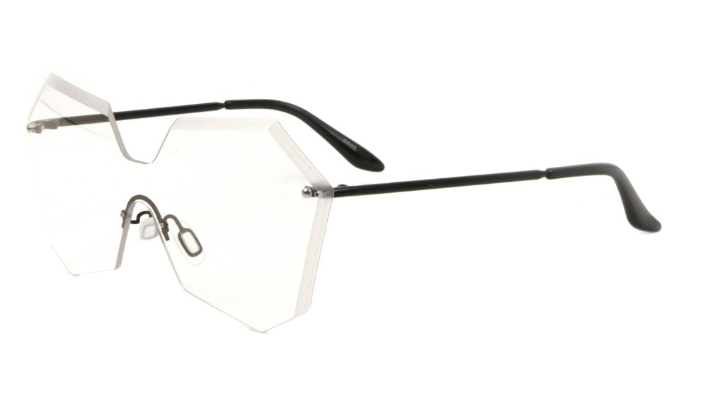 M10432-CLR - Rimless Angled Butterfly Solid One Piece Clear Lens Glasses