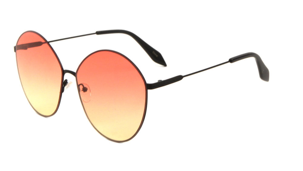 Rimless Rounded Cat Eye Oceanic Color Lens Bulk Sunglasses