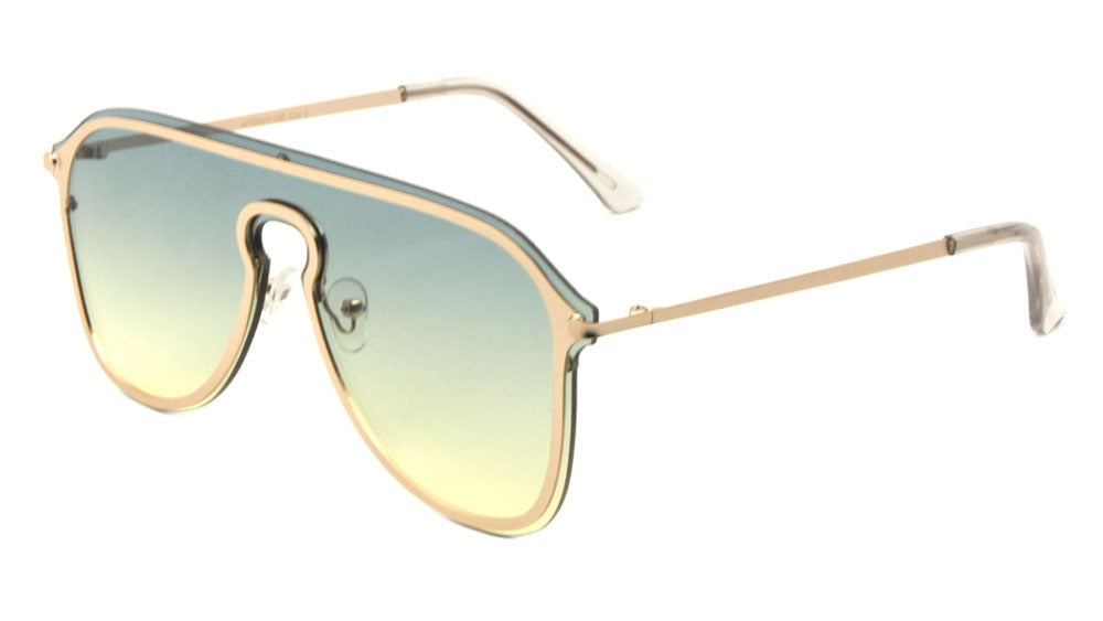 Rimless Solid One Piece Keyhole Nose Oceanic Color Wholesale Bulk Sunglasses